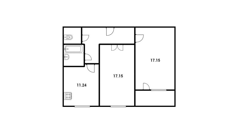 2-комнатная квартира 62,21 м²