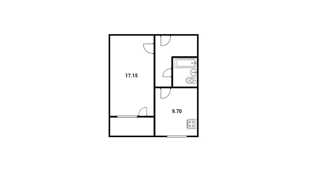 1-комнатная квартира 40,2 м²